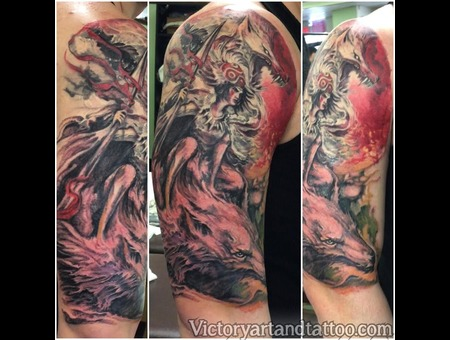 Princess Mononoke Princess Mononoke Color Colorful Colortattoo Sleeve Color Arm