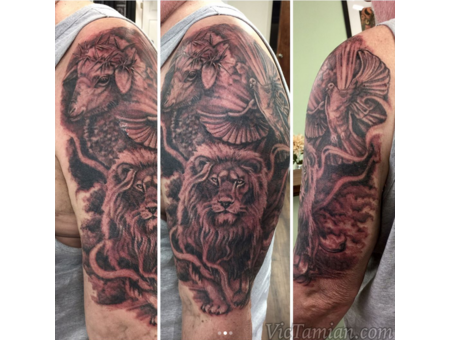 Lion Lamb Dove Christian Christianity Spiritual Religious Religion Black Grey Arm