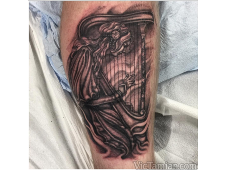 Harp Harper Harpist Lady Girl Daughter H Music Musician Blackandgrey Love Black Grey Lower Leg