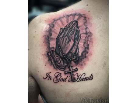 Hands Prayinghands Cross God Gods Godshands Pray Clouds Realistic Realism Black Grey Shoulder