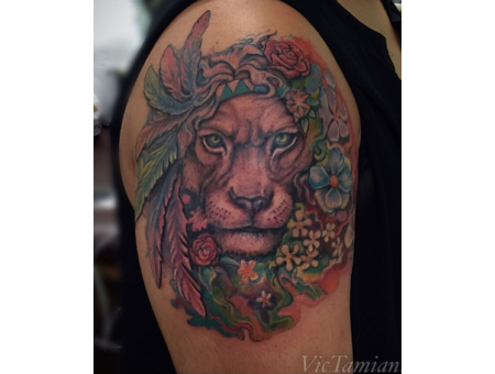 Watercolor Watercolortattoo Color Lion Peace Lioness Eyes Perfect Girly Color Arm