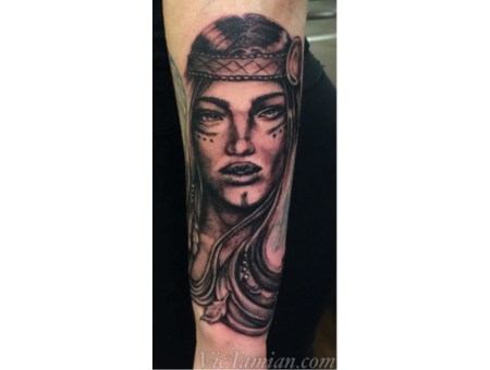 Native Wild Girl Gypsy Lady Nativegirl Face Hair Portrait Eye Pretty Indian Black Grey Forearm