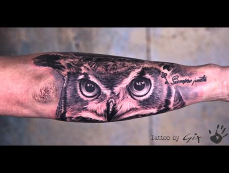 Owl  Realism  Giuliano  Tenerife Black Grey Forearm