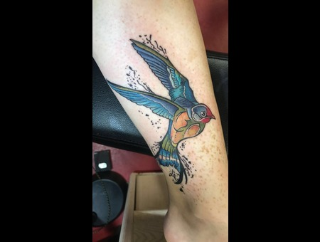 Bird Tattoo  Watercolor Tattoo  Abstract Tattoo  Color Lower Leg
