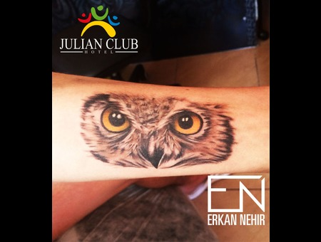 Owl  Tattoo  Realism  Arm  Erkan  Nehir  Artist  Marmaris  Tattooist Black Grey Forearm
