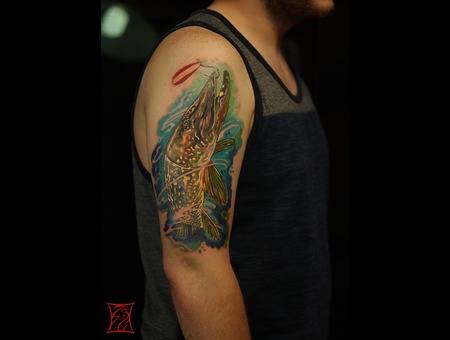 Gaborzsil Montreal Canada Tattooartist Pikefish Color Arm