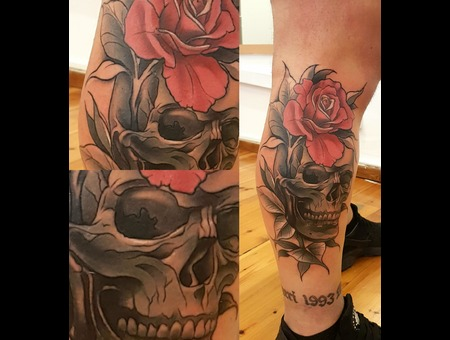 Skull Flower  Color Lower Leg