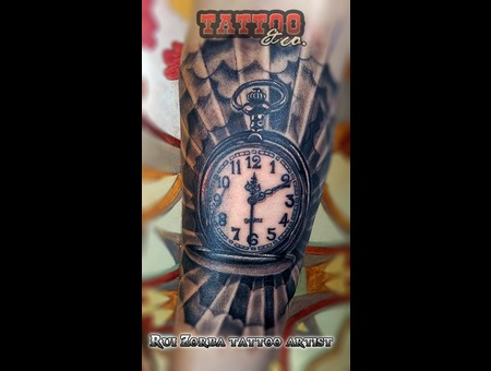 Clock Clouds Black Grey Forearm