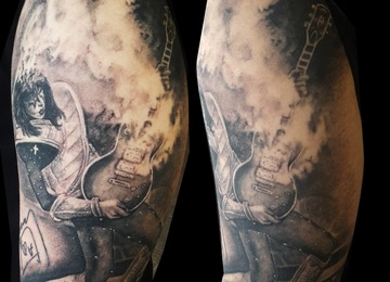 ace frehley, autography, portrait,healed