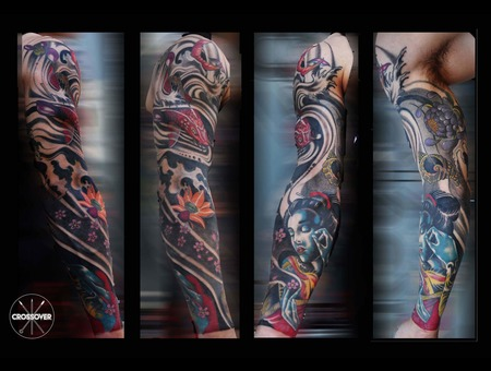 Japanese Koi Fish Geisha Color Arm