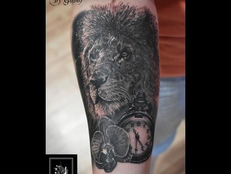 Lion  Watch  Flower Black Grey Forearm
