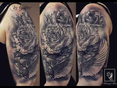 Rose  Flower Black Grey Arm