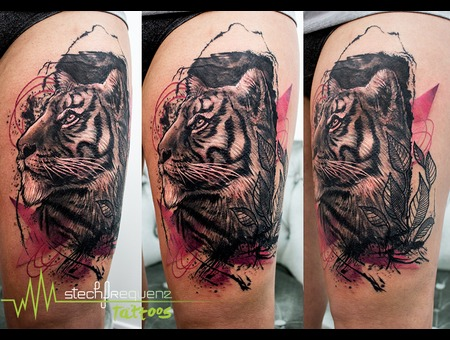 Tiger  Abstract  Trash  Realistic Black Grey Thigh
