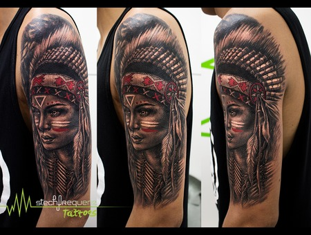 Native  American  Girl  Indian  Realistic Black Grey Arm