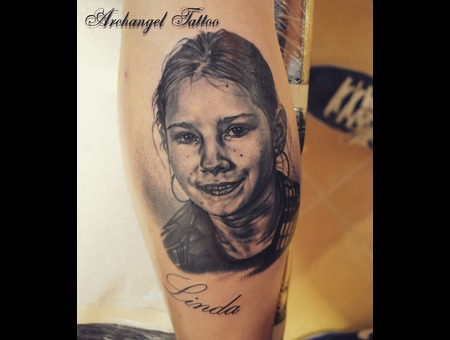 Portrait  Daughter Black Grey Lower Leg