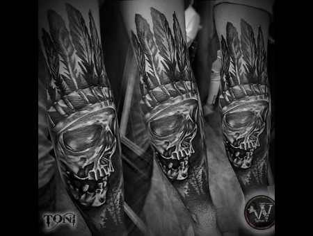 Native Skull Black And Gray Black Grey Arm