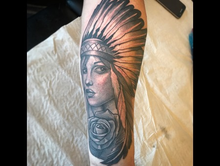 Rose  Black And Grey  Indian  Woman  Shading  Black Grey Forearm