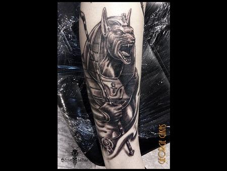 Egypt God  Ra  Anubis Black Grey Arm