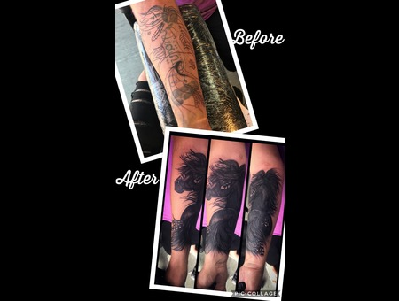 Cover Up Black Grey Forearm
