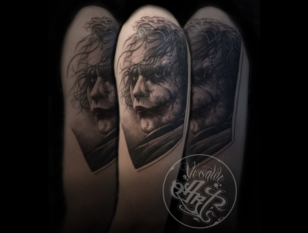 Joker Heath Ledger Jokertattoo Black Grey Arm