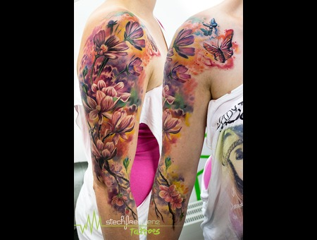 Flowers  Watercolor  Color  Butterflys Color Arm