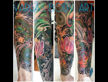 Dragon Sleeve With Lotus Color Arm