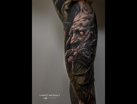 Vainius Anomaly  Horror  Creepy  Dark  Evil  Tattoo Color Arm