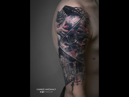 Vainius Anomaly  Horror  Creepy  Dark  Evil  Tattoo Color Shoulder