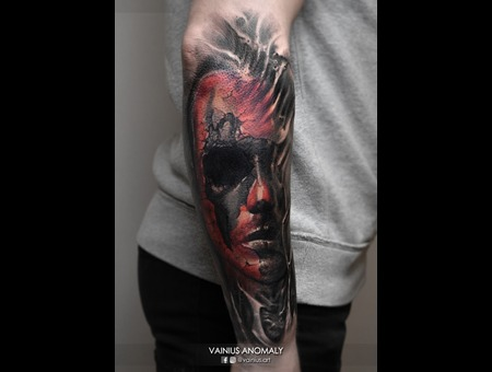 Vainius Anomaly  Horror  Creepy  Dark  Evil  Tattoo Color Forearm