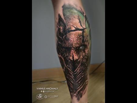 Vainius Anomaly  Horror  Creepy  Dark  Evil  Tattoo Color Lower Leg