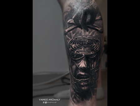 Vainius Anomaly  Horror  Creepy  Dark  Evil  Tattoo Black Grey Lower Leg