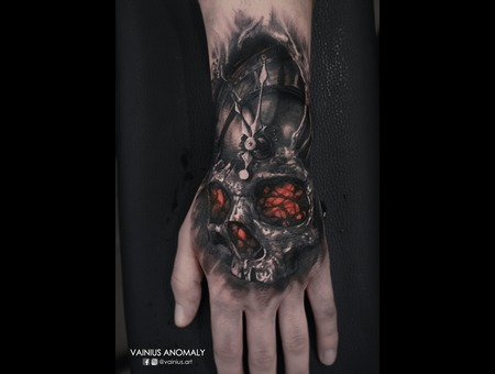 Vainius Anomaly  Horror  Creepy  Dark  Evil  Tattoo Black Grey Arm