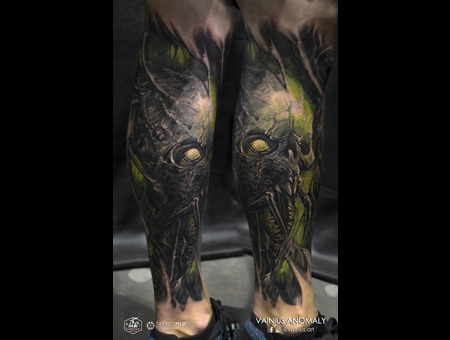Vainius Anomaly  Horror  Creepy  Dark  Evil  Tattoo Lower Leg