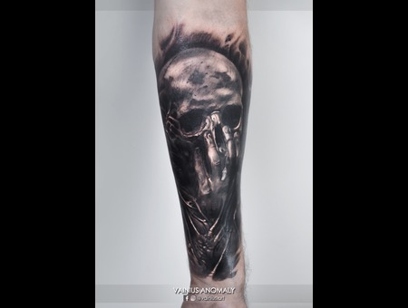 Vainius Anomaly  Horror  Creepy  Dark  Evil  Tattoo Black Grey Forearm