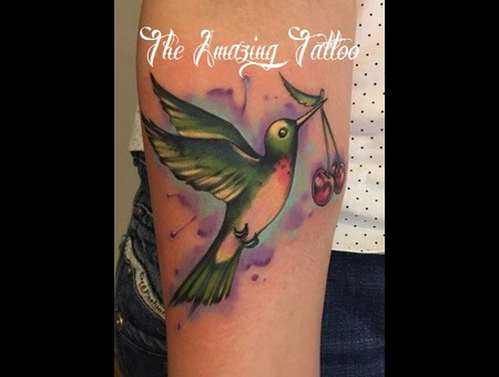 Hummingbird  Cherry  Watercolour Color Forearm