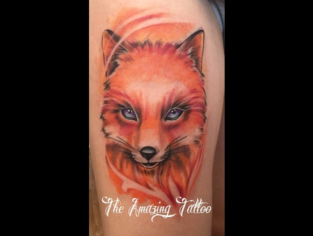 Fox  Colortattoo Color Thigh