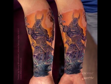 Anubis Tattoo  God Tattoo  Egyptian Tattoo  Mythological Tattoo Color Forearm