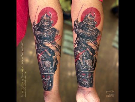 Samurai Tattoo  Warrior Tattoo Black Grey Forearm