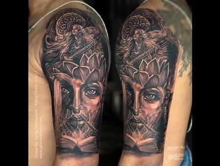 Goddess Saraswati Tattoo  Saraswati Tattoo  Goddess Tattoo Black Grey Arm