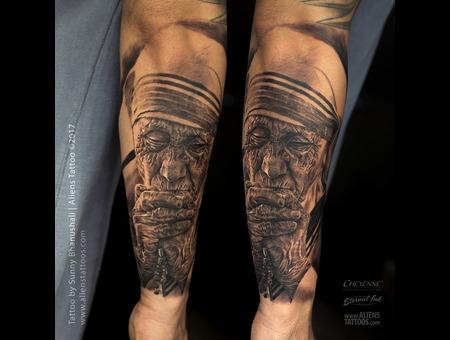 Mother Teresa  Peace Tattoo  Hyper Realistic Tattoo Black Grey Forearm
