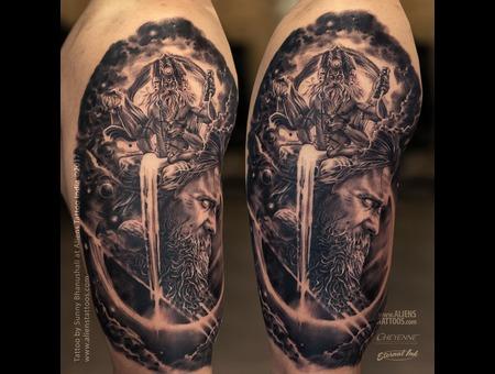 Lord Brahma Tattoo  Lord Arjuna Tattoo  Hindu Mythology  Hindu Religious  Black Grey Arm