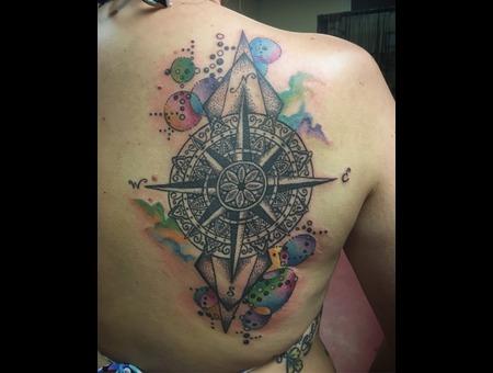 Compass Tattoo  Abstract Tattoo  Geometric Tattoo  Mandala Tattoo Color Shoulder