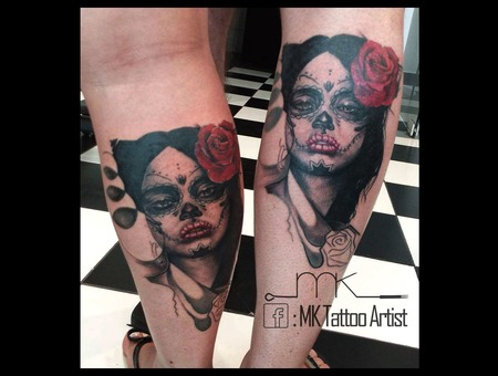 Realistc  Portrait  Muerte  Couple Tattoos Color Lower Leg