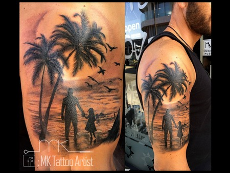 Landscape Family  Palm Trees  Sea Black Grey Arm