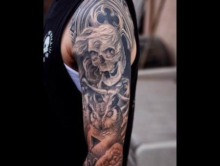 Skull  Owl  Dark  Dark Art  Freehand Black Grey Arm