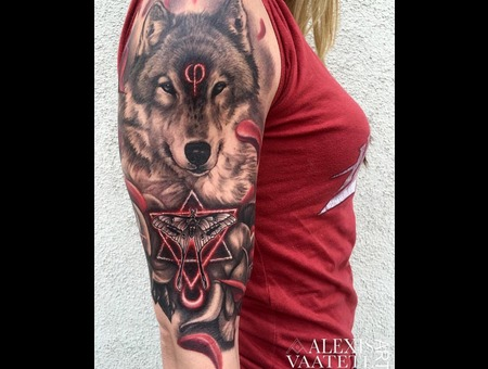 Wolf Tattoo  Wolf  Red  Sacred Geometry  Tattoos For Girls   Black Grey Arm