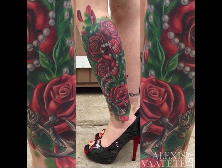 Roses  Rose Tattoo  Pearls  Anchor  Cover Up   Color Lower Leg