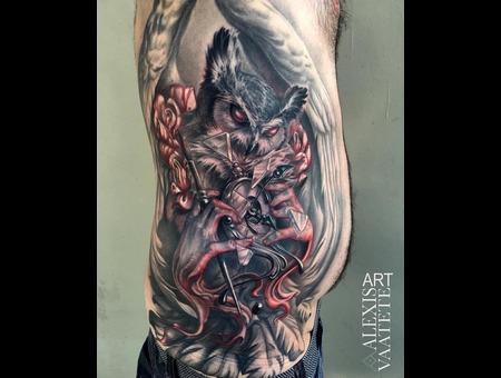 Owl  Freehand  Free Hand Tattoo  Clock  Time  Surreal  Realism   Black Grey Ribs