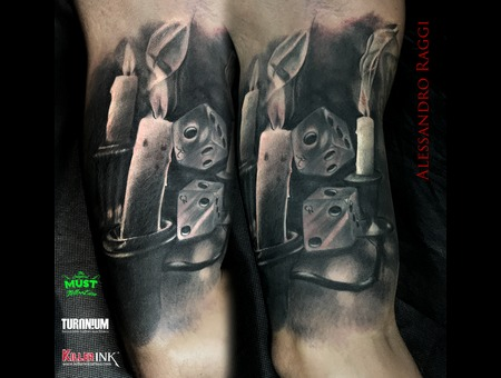 Ancient  Realistic  Candle Black Grey Arm