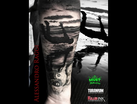 Falling  Endless Fall  Realistic  Surreal  Tattoo  Black Grey Forearm